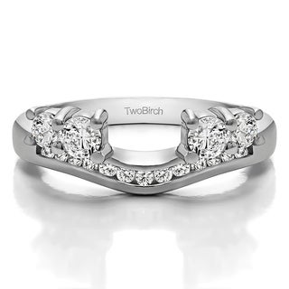 10k White Gold Solitaire Anniversary Ring Wrap Enhancer With Cubic Zirconia (0.5 Cts.)