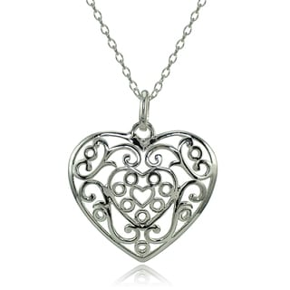 Mondevio Sterling Silver High Polished Filigree Heart Necklace