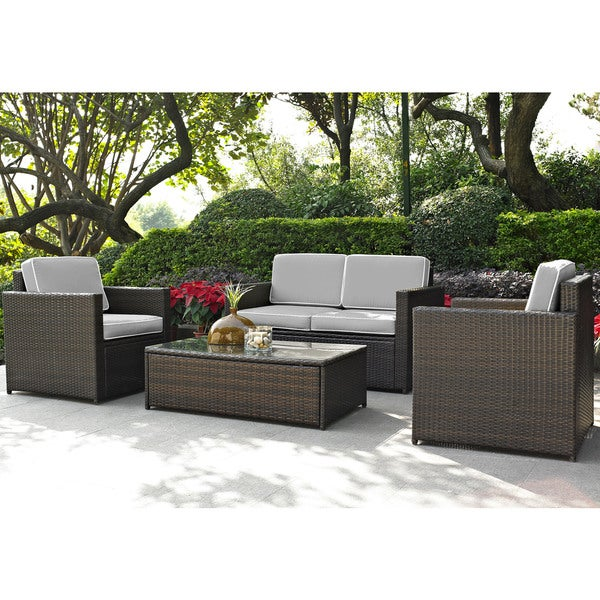 Shop palm harbor 4 piece outdoor wicker seating set with - Bed bath and beyond palm beach gardens ...