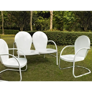 Griffith 3 Piece Metal Outdoor Conversation Seating Set - Loveseat & 2 Chairs in White Finish
