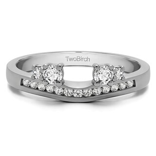 14k White Gold Solitaire Anniversary Ring Wrap Enhancer With Diamonds (G-H,I2-I3) (0.34 Cts., G-H, I2-I3)
