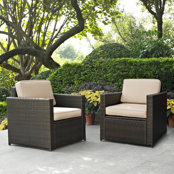 shop palm harbor 2 piece outdoor wicker seating set with sand