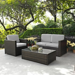 PALM HARBOR 3 PIECE OUTDOOR WICKER SEATING SET WITH GREY CUSHIONS