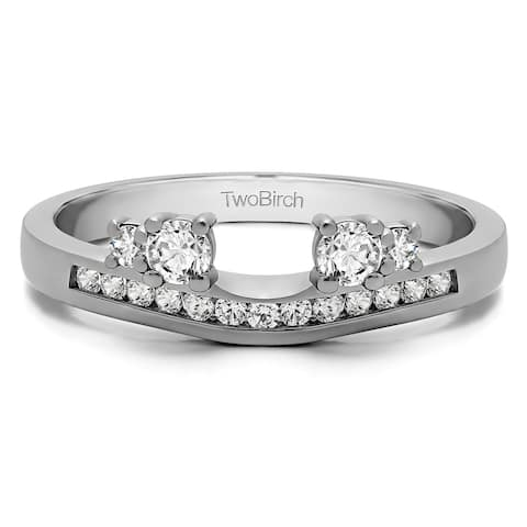 14k White Gold Solitaire Anniversary Ring Wrap Enhancer With Diamonds (0.34 Cts., G-H, I1-I2)