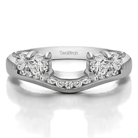 14k White Gold Solitaire Anniversary Ring Wrap Enhancer With Diamonds (0.41 Cts., G-H, I1-I2)