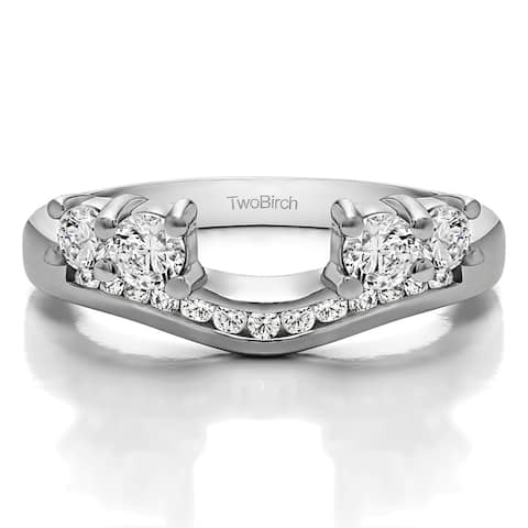 14k White Gold Solitaire Anniversary Ring Wrap Enhancer With Diamonds (0.5 Cts., G-H, I1-I2)