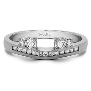 14k White Gold Solitaire Anniversary Ring Wrap Enhancer With White Sapphire (0.34 Cts., colorless)