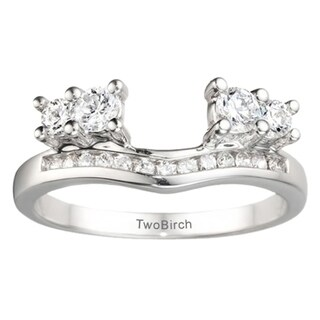 14k White Gold Solitaire Anniversary Ring Wrap Enhancer With White Sapphire (0.73 Cts., colorless)