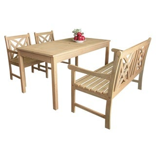 Beverly Outdoor Garden 4-piece Dining Set with Rectangular Table, one 4-foot bench and two Armchairs in Sand-Splashed Finish