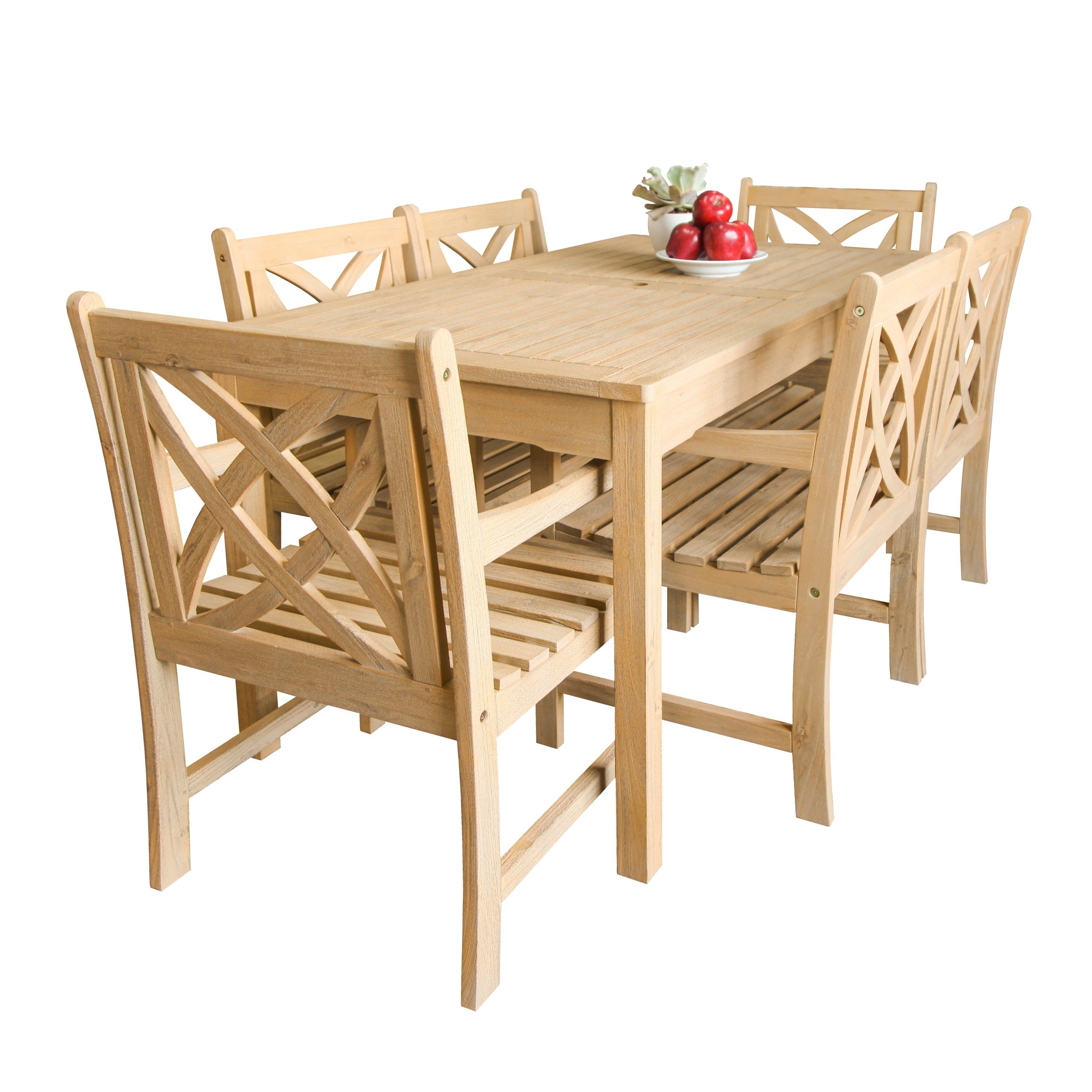 Shop beverly outdoor garden 7 piece dining set with rectangular table and six armchairs in sand splashed finish free shipping on orders over 45