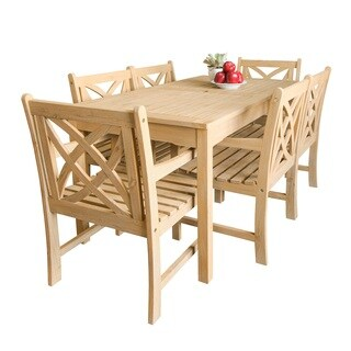 Beverly Outdoor Garden 7-piece Dining Set with Rectangular Table and six Armchairs in Sand-Splashed Finish