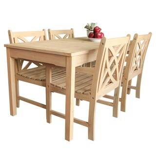 Beverly Outdoor Garden 5-piece Dining Set with Rectangular Table and four Armchairs in Sand-Splashed Finish