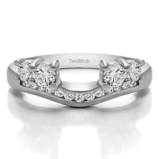 Sterling Silver Solitaire Anniversary Ring Wrap Enhancer With White Sapphire (0.41 Cts., colorless)