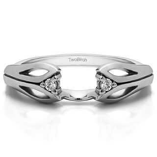 10k White Gold Cut Out Design Ring Wrap With Diamonds (G-H,SI2-I1) (0.04 Cts., G-H, SI2-I1)
