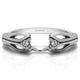10k White Gold Cut Out Design Ring Wrap With White Sapphire (0.04 Cts., colorless)