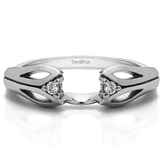 Sterling Silver Cut Out Design Ring Wrap With Cubic Zirconia (0.04 Cts.)