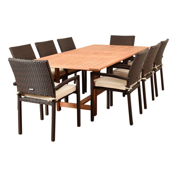 amazonia audrey 9 piece rectangular patio dining set brown with off