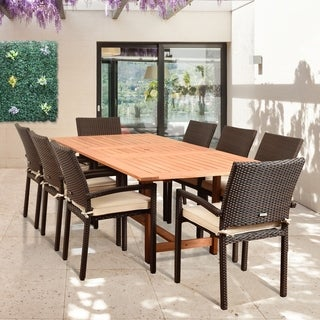 Amazonia Audrey 9 Piece Rectangular Patio Dining Set Brown with Off-White Cushions