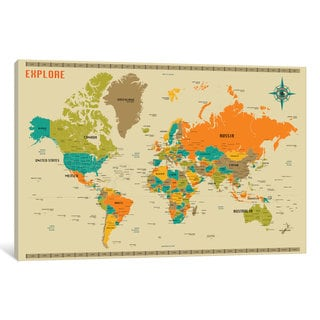 iCanvas New World Map by Jazzberry Blue Canvas Print