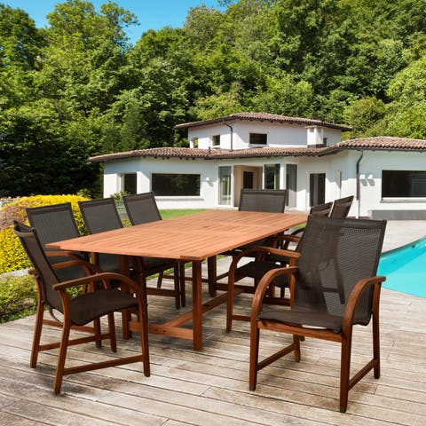 Amazonia Cosmopolitan Brown 9 Piece Rectangular Patio Dining Set