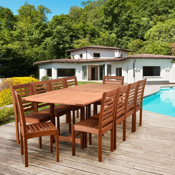 Amazonia Nadia 11 Piece Eucalyptus Rectangular Patio Dining Set