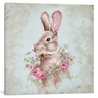 iCanvas French Farmhouse Series: Bunny With Wreath by Debi Coules Canvas Print