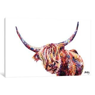 iCanvas 'Olivia's Highland Cow' by Becksy Canvas Print
