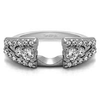 10k White Gold Fancy Style Anniversary Ring Wrap With Cubic Zirconia (0.44 Cts.)