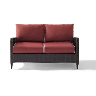 Kiawah Outdoor Wicker Loveseat with Sangria Cushions