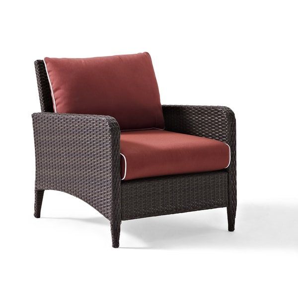 Kiawah Outdoor Wicker Arm Chair With Sangria Cushions   Free Shipping Today    Overstock.com   21543587