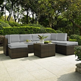 PALM HARBOR 8 PIECE OUTDOOR WICKER SEATING SET WITH GREY CUSHIONS