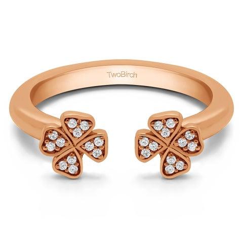 10k Gold Cubic Zirconia Double Shamrock Ring (.10 Ct Twt)