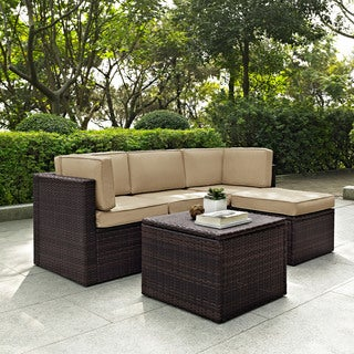 Palm Harbor 5 Piece Outdoor Wicker Seating Set With Sand Cushions