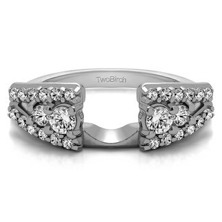 Sterling Silver Fancy Style Anniversary Ring Wrap With White Sapphire 0 44 Cts Colorless