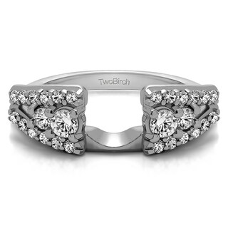 Sterling Silver Fancy Style Anniversary Ring Wrap With White Sapphire (0.44 Cts., colorless)