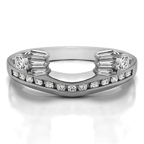10k White Gold Classic Style Anniversary Ring Wrap With Cubic Zirconia (0.71 Cts.)