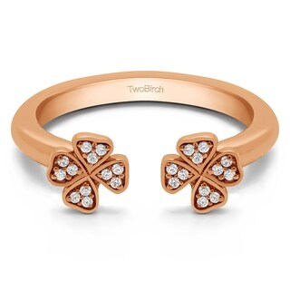 Twobirch 14k Gold 0.1 CT of Cubic Zirconia Double Shamrock Ring
