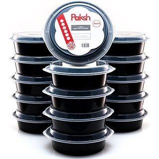 Paksh Novelty Round Plastic Meal Preparation Container 24 oz 16 Piece