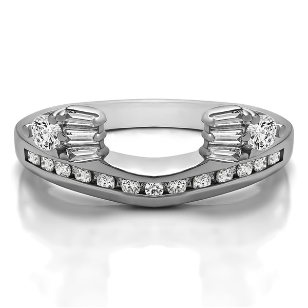 10k White Gold Classic Style Anniversary Ring Wrap With Diamonds (G-H,SI2-I1) (0.71 Cts., G-H, SI2-I1)