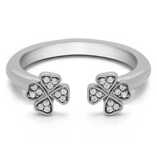 Platinum Double Shamrock Ring With Forever Brilliant Moissanite