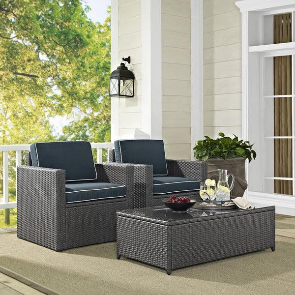 Grey Wicker Outdoor Coffee Table: Shop Palm Harbor 3 Piece Outdoor Wicker Seating Set In