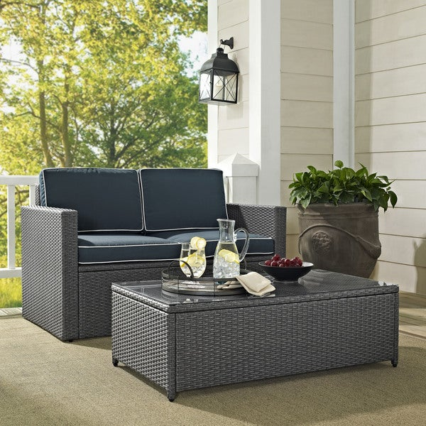 Grey Wicker Outdoor Coffee Table: Shop Palm Harbor 2 Piece Outdoor Wicker Seating Set In