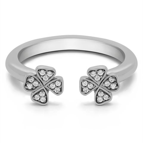 Platinum Double Shamrock Ring With Diamonds (0.1 Cts., G-H, SI1-SI2)