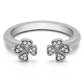 Platinum Double Shamrock Ring With Diamonds (G-H,SI2-I1) (0.1 Cts., G-H, SI1-SI2)