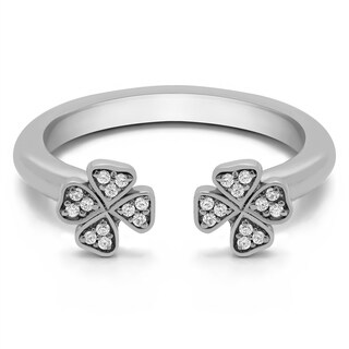 Platinum Double Shamrock Ring With Diamonds (0.1 Cts., G-H, SI1-SI2) (More options available)