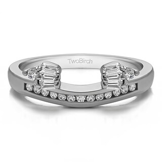 14k White Gold Classic Style Anniversary Ring Wrap With Diamonds (G-H,SI2-I1) (0.26 Cts., G-H, SI2-I1) (More options available)