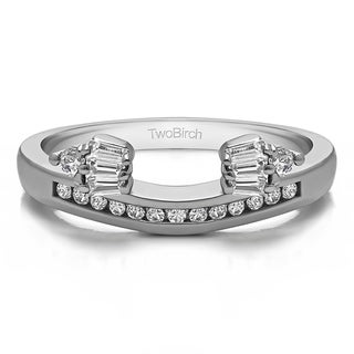 Sterling Silver Classic Style Anniversary Ring Wrap With Cubic Zirconia 0 26 Cts