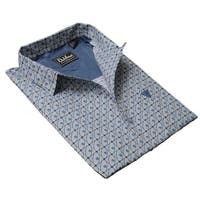 DaVinci Men's Stanley Blue/Grey Cotton Shirt - Blue