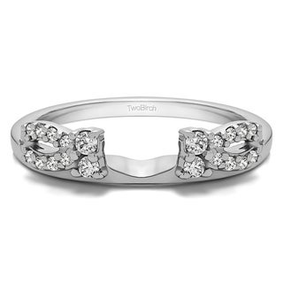 Sterling Silver Delicate Bow Style Ring Wrap With Cubic Zirconia (0.2 Cts.)