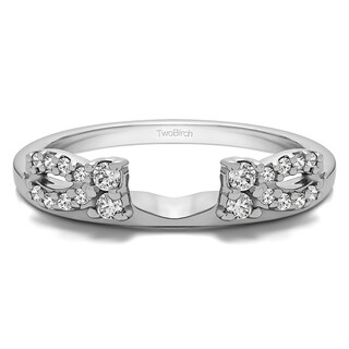 Sterling Silver Delicate Bow Style Ring Wrap With Cubic Zirconia (0.2 Cts.) (More options available)